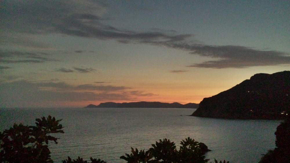 Sun rising on the East -Skopelos town
